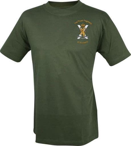 The Royal Regiment of Scotland cotton military t-shirt with embroidered SCOTS regimental cap badge,  available in military green, royal & navy blue and black. Add battalion name across the back for only £2.49