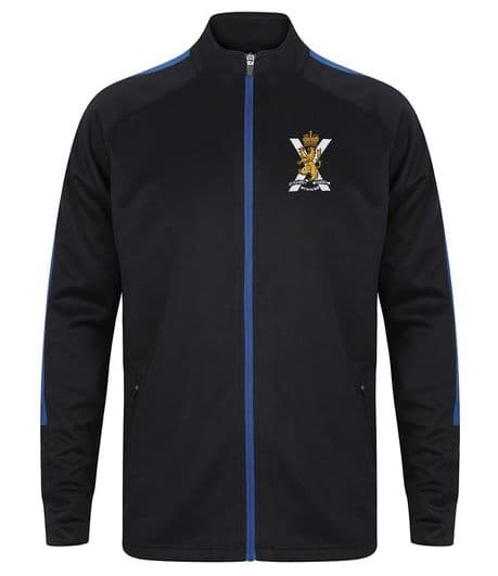 The Royal Regiment of Scotland tracksuit featuring the regimental cap badge and SCOTS across the back as standard Complete in regimental colours.