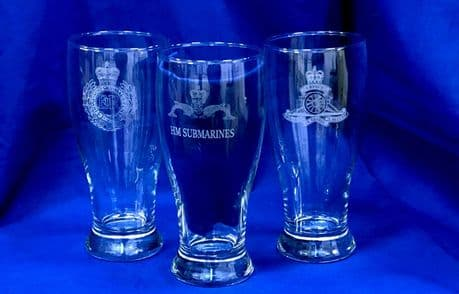 UK Military engraved beer pint glass with Army regiment cap badges, Royal Navy and RAF crests.
