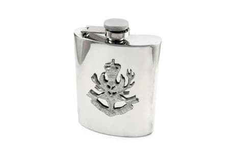 The Queens Own Highlanders Regiment pewter hip flask with cap badge and personal inscription options available.