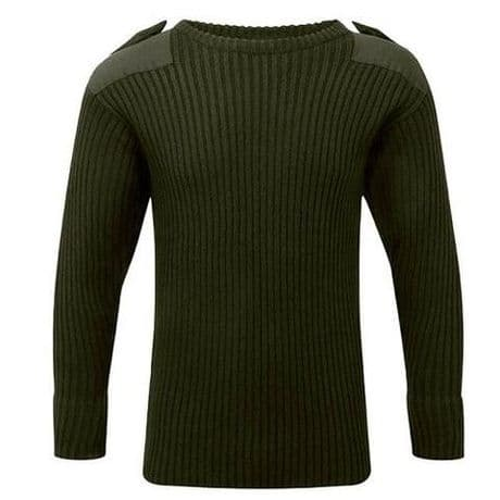 The British Military Woolly Pully - knitted British Army and Royal Navy jumper with epaulettes and elbow patches.