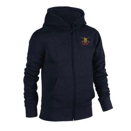 UK Military zipped hooded sweatshirt with British Army embroidered cap badges, Royal Navy and RAF.