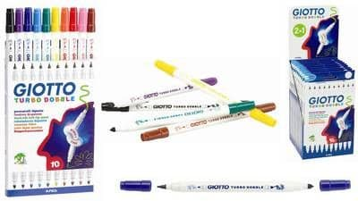 10 x GIOTTO TURBO DOBBLE DOUBLE-ENDED TWIN TIP FELT TIP FIBRE TIP PENS