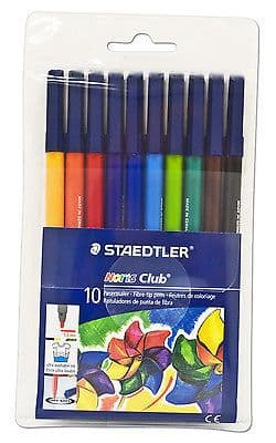 10 x STAEDTLER NORIS CLUB FELT TIP PENS in Wallet 10 Assorted Colours