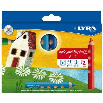 12 x LYRA GROOVE TRIPLE 1 PENCIL / CRAYON / WATER SOLUBLE 3 in 1 SUPER JUMBO