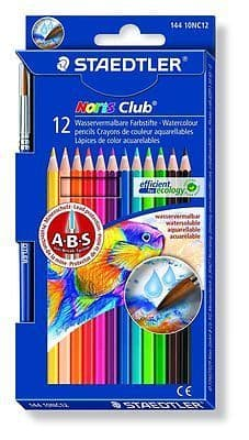 12 x STAEDTLER NORIS CLUB WATER SOLUBLE COLOURING PENCILS - Anti-Break Leads