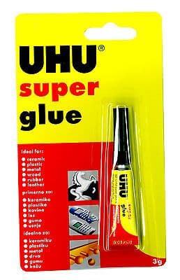 12 x UHU SUPER GLUE ADHESIVE - EXTRA STRONG - BONDS IN SECONDS - 3g Tube
