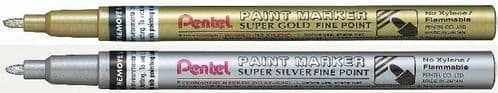 2 x PENTEL SUPER FINE POINT PAINT MARKER PEN (MSP10) GOLD/SILVER or Mixed