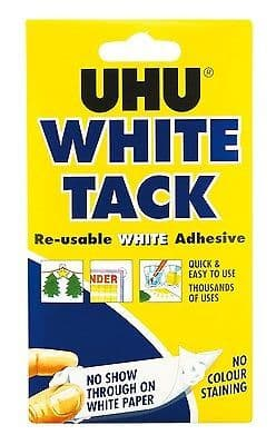 2 x UHU WHITE TACK HANDY 50g - RE-USABLE WHITE ADHESIVE NON-STAIN