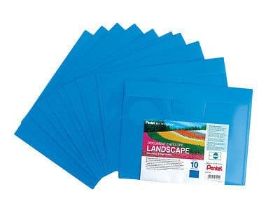 20 x A4 PLASTIC DOCUMENT WALLETS ENVELOPE LANSCAPE Like STUD POPPERS WALLET BLUE