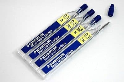 24 STAEDTLER MARS MICRO 0.3mm H MECHANICAL PENCIL REFILL LEADS [2 Tubes]