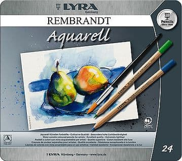 24 x LYRA REMBRANT AQUARELL ARTIST WATER-SOLUBLE  COLOURING PENCILS GIFT TIN