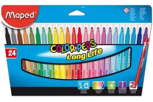 24 x MAPED FELT TIP PENS FIBRE TIP ART PENS in Wallet 24 Assorted Colours