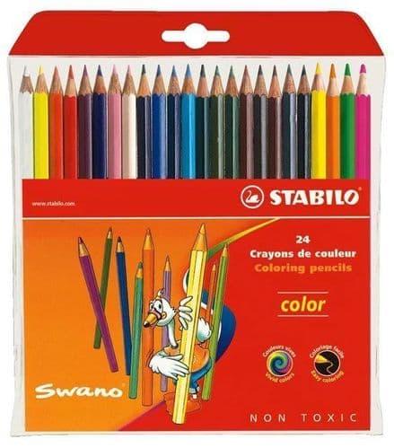 24 x STABILO SWANO COLOURING PENCILS - Includes Neon Colours, Hexagonal Shape