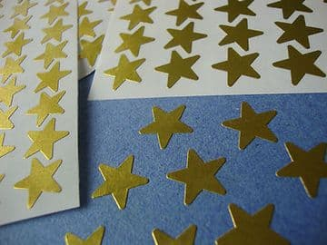 270 STICKY COLOURED METALLIC MERIT STARS 12mm SELF ADHESIVE