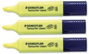 3 x STAEDTLER HIGHLIGHTER PENS TEXTSURFER CLASSIC by Colour