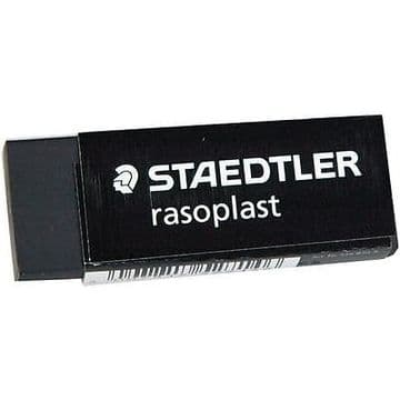 3 x STAEDTLER RASOPLAST BLACK PLASTIC RUBBER ERASER