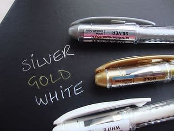 3 x UNI-BALL SIGNO METALLIC GEL PENS  UM-120NM - Gold + Silver + White
