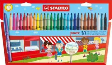 30 x STABILO FELT TIP PENS in Wallet 30 Assorted Colours