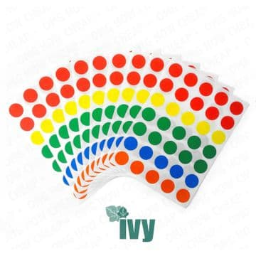 350 STICKY COLOURED 13mm LABELS DOTS CIRCLES SELF ADHESIVE [FIVE COLOURS] 232183