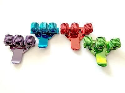 4 x COLOURED TREBLE TRIPLE PEN HOLDER POCKET PEN CLIP Blue, Green, Red & Violet