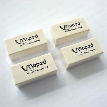 """4 x MAPED MINI TECHNIC ERASER """"MINI SIZE"""" PLASTIC RUBBER ERASERS"""