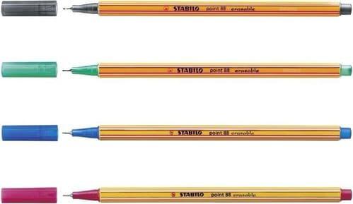 4 x STABILO POINT 88 ERASABLE FINELINER SUPERFINE 0.4MM (1 OF EACH COLOUR)