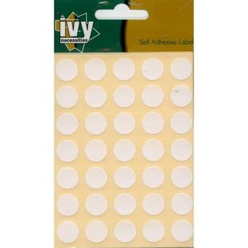 490 STICKY WHITE 13mm LABELS DOTS ROUND CIRCLES SELF ADHESIVE STICKERS by IVY