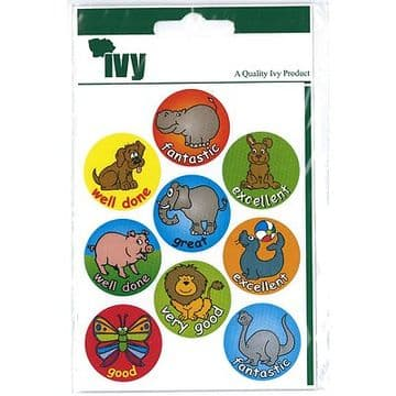 54 MOTIVATIONAL STICKERS SELF ADHESIVE LABELS 19mm - ANIMALS