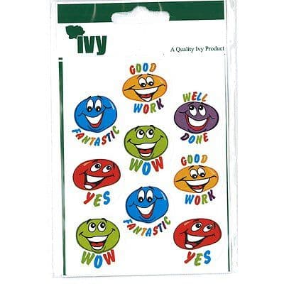 54 MOTIVATIONAL STICKERS SELF ADHESIVE LABELS 19mm - SMILING BLOBS