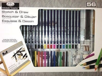 56PC ESSENTIALS SKETCH & DRAW ART SET Includes Easel and Artist Pad
