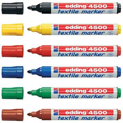 6 x EDDING TEXTILE T-SHIRT FABRIC PEN MARKER PEN 2 - 3mm Line