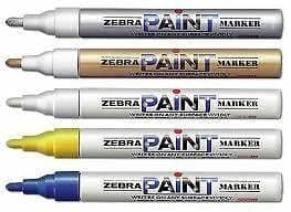 6 x PAINT MARKER PENS by ZEBRA LARGE BULLET POINT TIP LIKE UNI-BALL PX-20