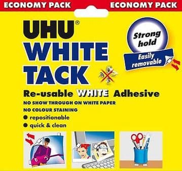 6 x UHU WHITE TACK ECONOMY 100g - RE-USABLE WHITE ADHESIVE NON-STAINING