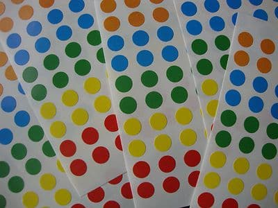 7,000 STICKY COLOURED 8mm LABELS DOTS ROUND CIRCLES SELF ADHESIVE ASSTD COLOURS