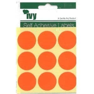 72 STICKY FLUORESCENT RED 29mm LABELS DOTS ROUND CIRCLES SELF ADHESIVE STICKERS