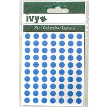 980 STICKY BLUE 8mm LABELS DOTS ROUND CIRCLES SELF ADHESIVE STICKERS by IVY