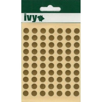 980 STICKY GOLD 8mm LABELS DOTS ROUND CIRCLES SELF ADHESIVE STICKERS by IVY