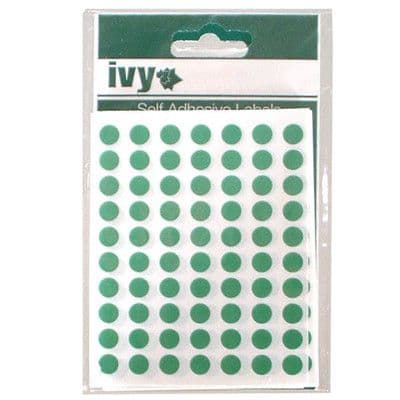 980 STICKY GREEN 8mm LABELS DOTS ROUND CIRCLES SELF ADHESIVE STICKERS by IVY