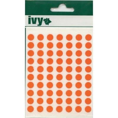980 STICKY ORANGE 8mm LABELS DOTS ROUND CIRCLES SELF ADHESIVE STICKERS by IVY