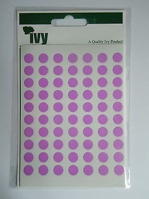 980 STICKY PINK 8mm LABELS DOTS ROUND CIRCLES SELF ADHESIVE STICKERS by IVY