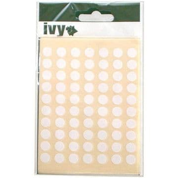 980 STICKY WHITE 8mm LABELS DOTS ROUND CIRCLES SELF ADHESIVE STICKERS by IVY