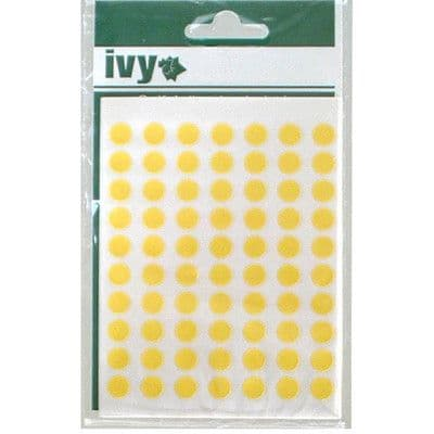 980 STICKY YELLOW 8mm LABELS DOTS ROUND CIRCLES SELF ADHESIVE STICKERS by IVY