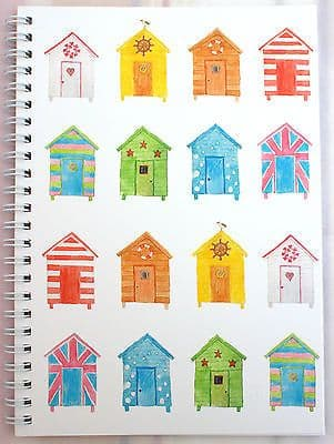 A5 WIRO NOTEPAD [PACK 6] BOOK JOTTER SPIRAL BEACH HUTS LINED 100gsm 80 Page
