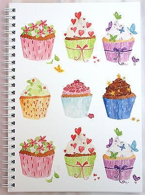A5 WIRO NOTEPAD [PACK 6] BOOK JOTTER SPIRAL CUPCAKES DESIGN LINED 100gsm 80 Page