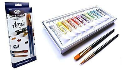 ARTISTS ACRYLIC PAINT SET OF 12 + 2 BRUSHES BY ROYAL & LANGNICKEL