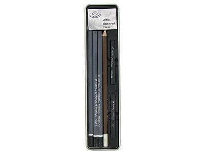 ARTISTS CHARCOAL & PASTEL DRAWING ART SET IN MINI TIN BY ROYAL & LANGNICKEL