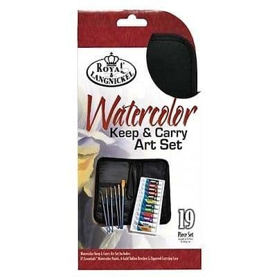 ARTISTS WATERCOLOR PAINTING 19 PIECE KEEP N'' CARRY ART SET BY ROYAL & LANGNICKEL