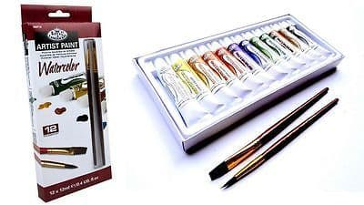 ARTISTS WATERCOLOUR PAINT SET OF 12 + 2 BRUSHES BY ROYAL & LANGNICKEL