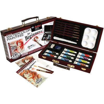 BEGINNERS WATERCOLOR PAINTING ART SET IN CARRY CASE BY ROYAL & LANGNICKEL.